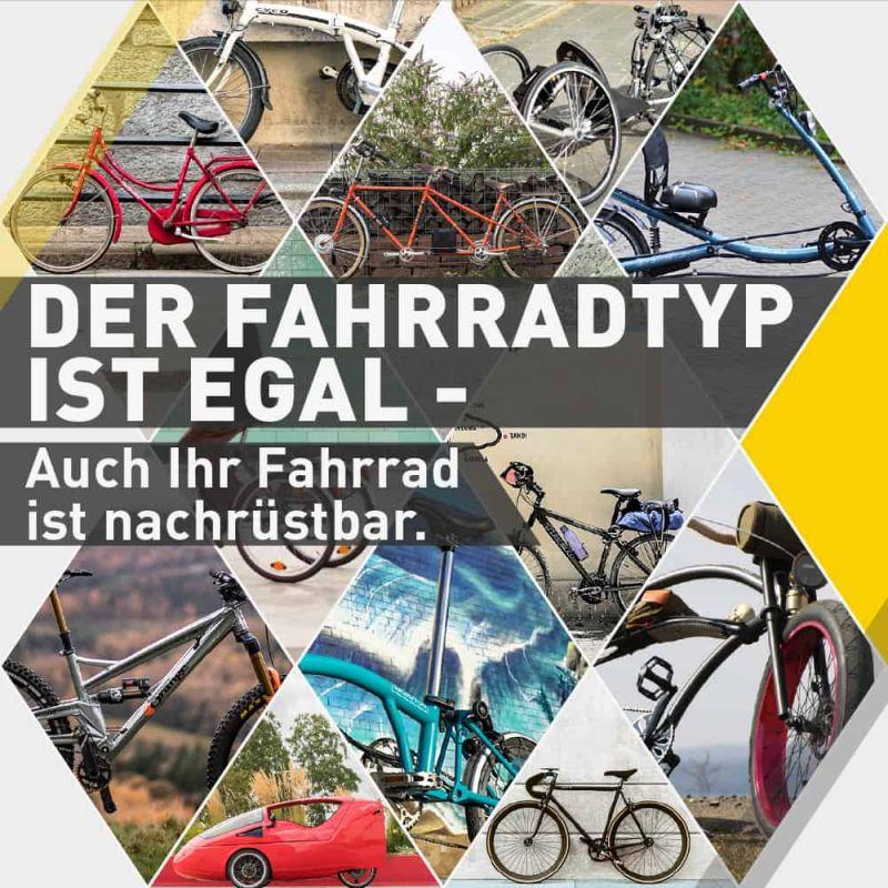 Egal, was für ein Fahrradtyp - auch Ihr Fahrrad ist nachrüstbar.